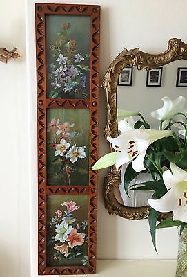 Antique Arts And Crafts Floral Triptych Yard Long Oil Painting Carved Wood Frame