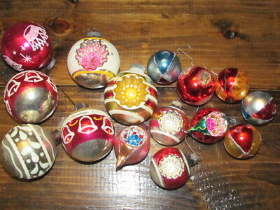 Lot of 15 vintage christmas ornaments shiny brite