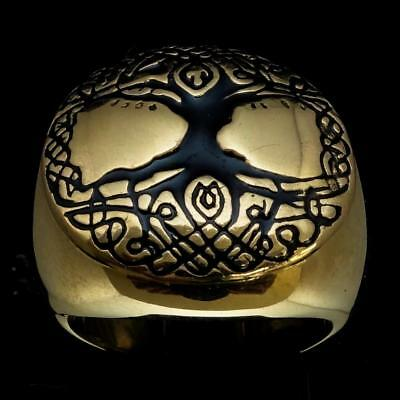 Ancient Bronze Mens Costume Ring Celtic Tree Of Life Esotheric Black Any Size