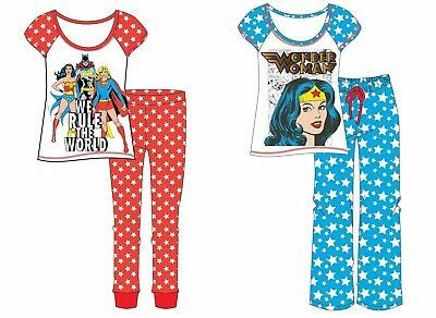 Ladies Girls DC Comics Wonder Woman Superhero Comic Book Blue Pyjamas PJs 8-22