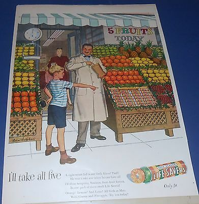 1947 Life Savers Candy Ad GROCER Grocery Store fruit market BOY named Paul