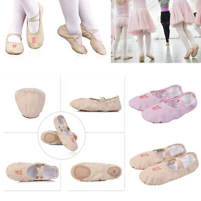 LEATHER BALLET GIRLS WOMENS DANCE SHOES KIDS SLIPPERS FLATS SILVER PINK BLACK