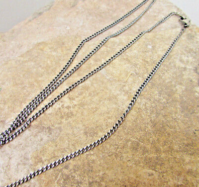 Sterling Silver Oxidized Long Chain Layered Necklace 2mm Cuban Curb Link choker