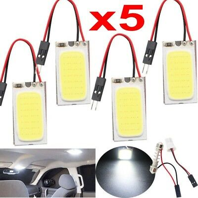 5x White 48 SMD COB LED T10 4W 12V Car Interior Panel Light Dome Lamp Bulbs