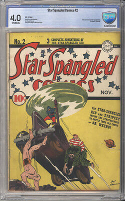 Star Spangled Comics # 2 Star Spangled Kid !  CBCS 4.0  scarce Golden Age book !