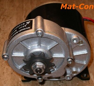 "geared motor MY1016Z3 350W 24V 36V DC 10,8Nm 330rpm, sprocket 1/2"", incl. flange"