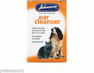 JOHNSONS EAR CLEANSER DOG & CAT ANTIBACTERIAL SOFTENS AIDS  a016 REMOVAL OF WAX