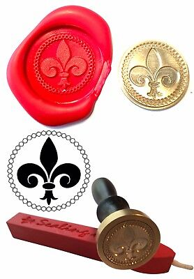 Wax Stamp, FLEUR DE LYS France French Coin Seal and Red Wax Stick XWSC094-KIT