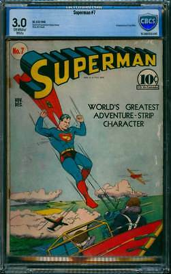 Superman # 7  First app. of Perry White !  CBCS 3.0  scarce Golden Age book !