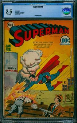 Superman # 8  Danger : Gasoline !  CBCS 2.5  scarce Golden Age book !