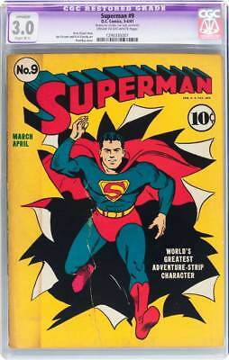 Superman # 9  Classic Superman Cover !  CGC 3.0  scarce Golden Age book !