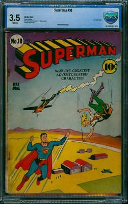 Superman # 10  First Bald Lex Luthor !  CBCS 3.5  scarce Golden Age book !