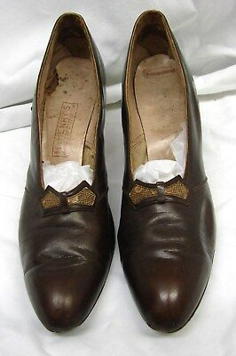 1920s Vintage BROWN LEATHER DETAILED FLAPPER ERA PUMPS HEELS SHOES