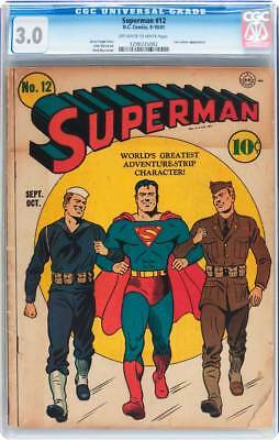 Superman # 12  Classic Military Cover !  CGC 3.0  scarce Golden Age book !