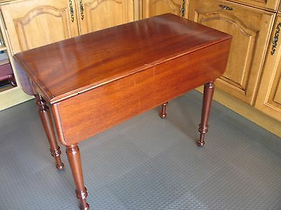 Antique Victorian Solid Mahogany Pembroke Table With Drawer Extending Original