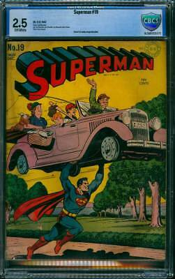 Superman # 19  Classic Flying Car Cover !  CBCS 2.5  scarce Golden Age book !