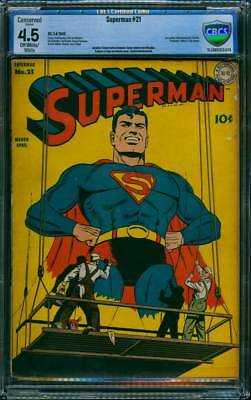 Superman # 21  Classic Billboard Cover !  CBCS 4.5  scarce Golden Age book !