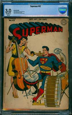 Superman # 42  One-Man Band Cover !  CBCS 3.0  scarce Golden Age book !