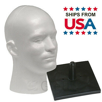 Full Size Male Styrofoam Head White with Free NonTopple Stand - Ships from USA