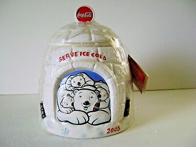 2005 Coca Cola Bears and Igloo Collectible Cookie Jar In Original Shrink Wrap