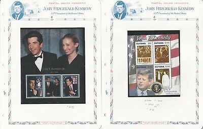 Guyana Collection, John F. Kennedy on 7 White Ace Pages, Mint NH