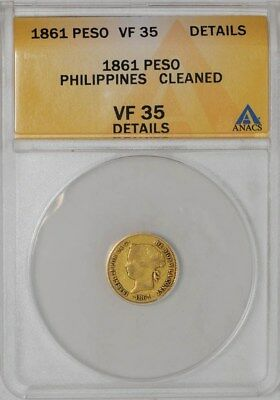 1861 Philippines Gold Peso VF35 Details ANACS