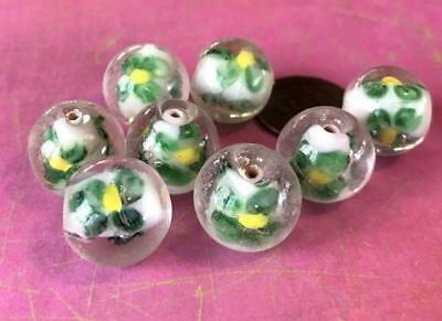 Old Stock Fancy 15mm Translucent Green Flower White Core Lampwork Glass Beads 6
