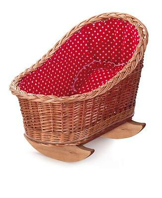 SALE Egmont Wicker Doll Cradle with Red and White Hearts Bedding FAST POST NKT