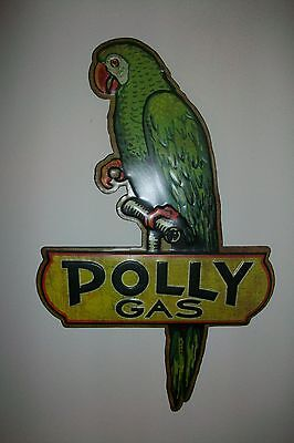 "Vintage Style Reproduction Polly Gas Tin Sign Large 16"" Tall Mint Cond"