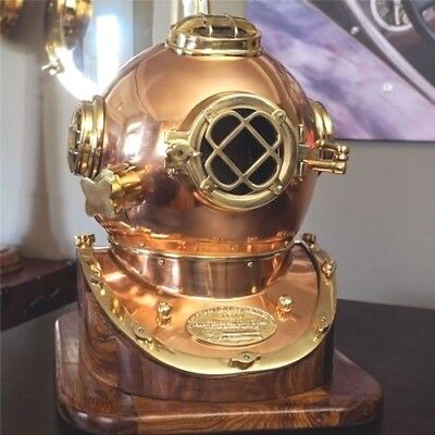 Mark V Copper Diving Helmet with Wood Base