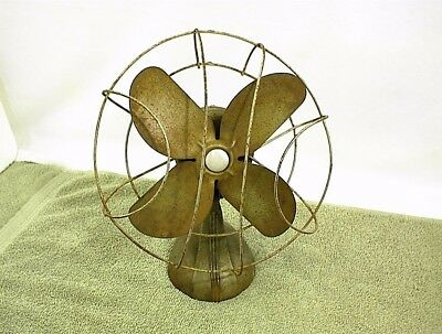 Vintage Electric Fan Table Top Art Deco Cast Base Wire Cage Does Not Work