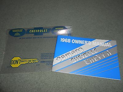 1968 CHEVROLET CAMARO CHEVELLE NOVA OWNER MANUAL with '68 CHEVY BAG HIGH QUALITY