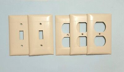 Vintage Sierra Ivory Ribbed Bakelite Switch & Outlet Cover Plates