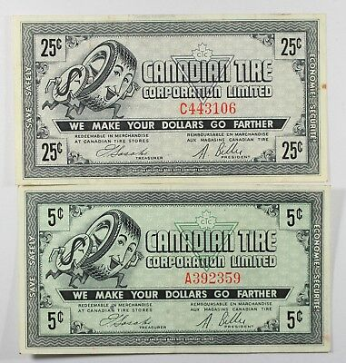 CANADIAN TIRE MONEY NOTE 5 Cent / 25 Cent