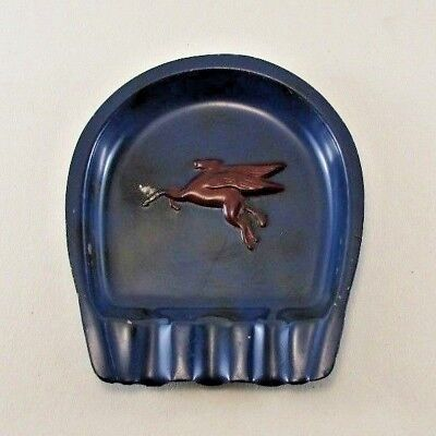 Vintage Auto Mobil Gas Station Metal Ashtray Blue w/ Red Winged Pegasus Horse