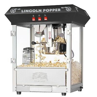Great Northern Black 8oz Lincoln Countertop Popcorn Popper Machine