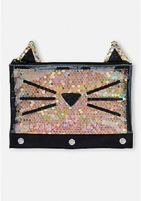 Justice Gold Sequin Sparkle Cat Pencil Case NWT
