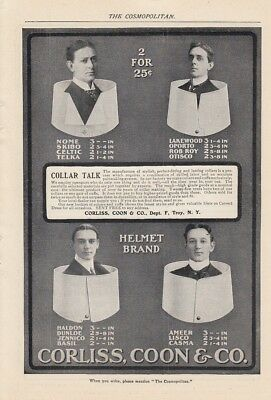 1901 Corliss Coon & Co Troy NY Ad: Stylish Perfect-Fitting and Lasting Collars