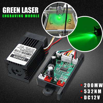 200mw 532nm Green Laser Engraving Module w/ Heatsink Fan+TTL For Cutter Engraver