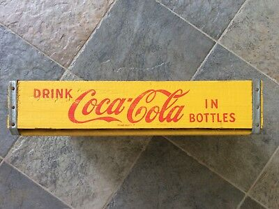 REDUCED Vtg. Coca-Cola Yellow Wood BOTTLE CASE Carrier Crate 24 Dividers *CLEAN
