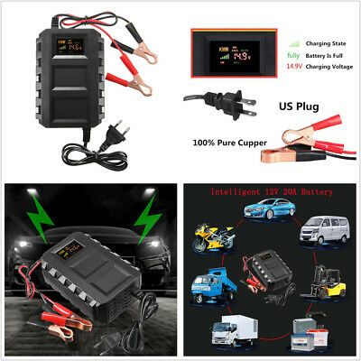 High Quality 1X 12V 20A 47-63Hz Car Motorcycle Lead Acid Battery Charger US Plug