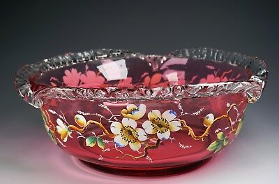 Gorgeous Crested Cranberry Glass Enameled Painted Flowers Bride's Basket Bowl