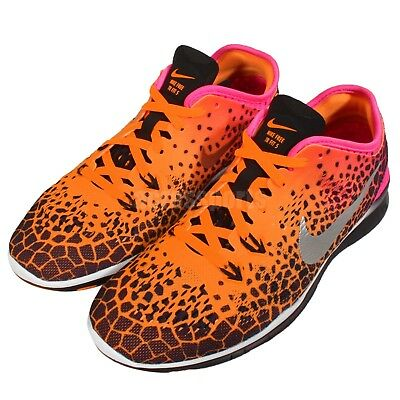 828ed83a52d61 Wmns Nike Free 5.0 TR Fit 5 Print Orange Pink Womens Training Shoes 704695- 011