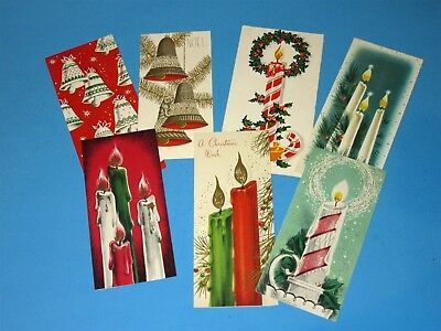 Lot of 7 Vtg Mid Century Christmas Card Bells & Candles one Jane Jarvis Miami