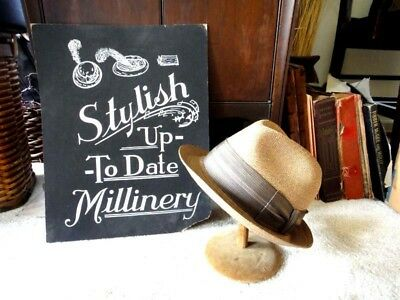 antique ORIGINAL ART~MILLINERY STORE SIGN hand painted,cardboard,hats,early