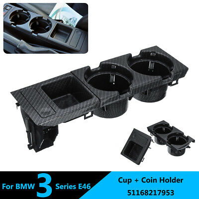 Carbon Fiber Center Console Coin Storage Box & Cup Holder For BMW E46 3 Series