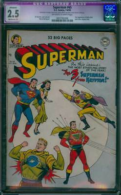 Superman # 65  The 3 Supermen From Krypton !  CGC 2.5  scarce Golden Age book !