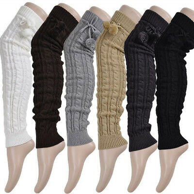 Winter Leg Warmers Knee Women High knitted Long Boot Thigh High Tie Cable Socks