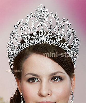 Vintage Style Pageant Beauty Contest Crown Full Circle Round Tall Tiara AT1724