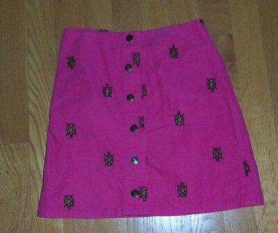 Lilly Pulitzer Pink Fine Corduroy Turtles Embroidered Skirt Girls Size 7, EC